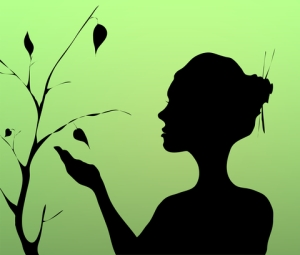 silhouette woman tree