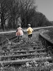 train tracks two kids